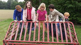 Kinder auf Wagen mit Gras